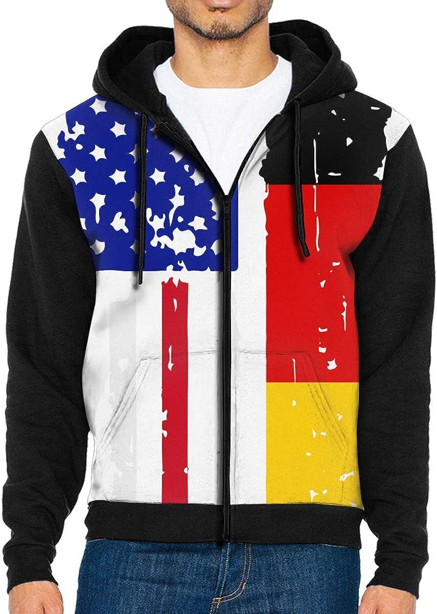 LMKJNGFD German American USA Flag Pride Boys Adult Full Zip Hoodies Sweatshirts Active Outwear Sweatshirts