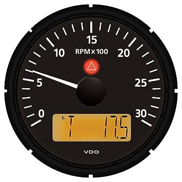 """VDO Viewline Onyx 3,000 RPM 3-3/8"""" (85mm) Tachometer w"""