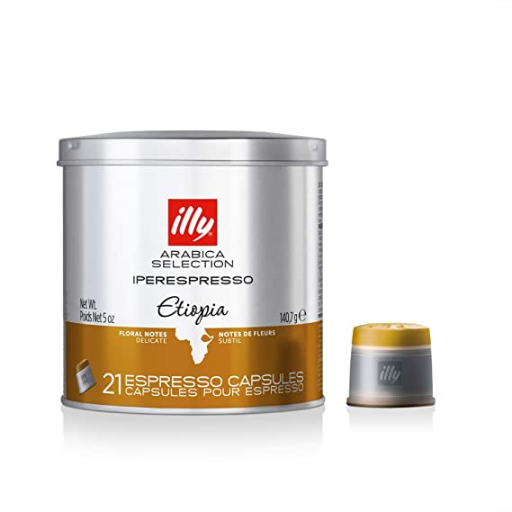 Illy Metodo ipere mediaespresso Espresso de 21 Cápsulas, monoara Bica Etiopía, 1er Pack (