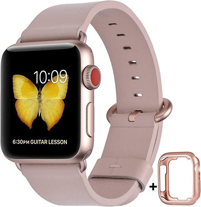 JSGJMY Compatible with Apple Watch Band 38mm 40mm 42mm 44mm Women Men Genuine Leather Replacement Strap for iWatch Series SE 6 5 4 3 2 1 (Soft Pink with Series 5/4/3 Rose Gold Clasp, 38mm/40mm S/M)