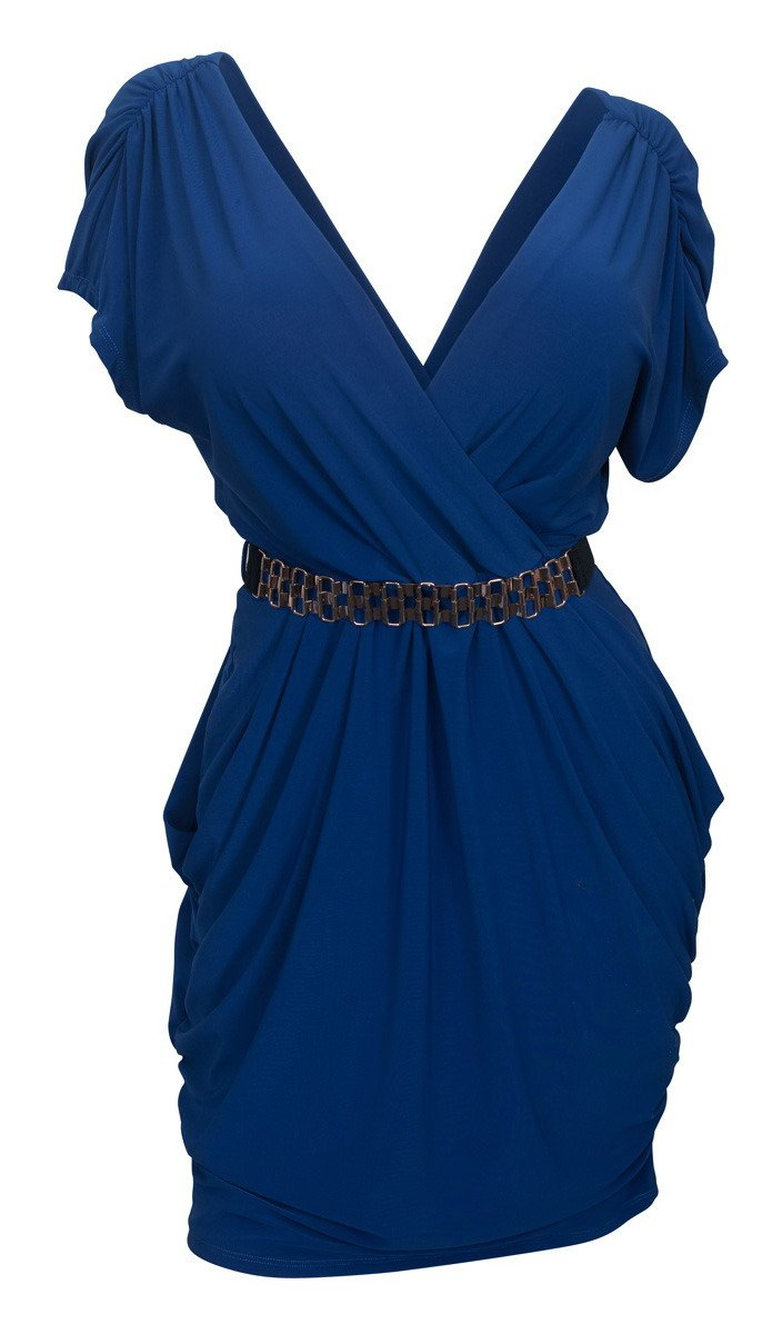 eVogues Plus Size Deep V-Neck Wrap Bodice Dress Royal Blue - 2X
