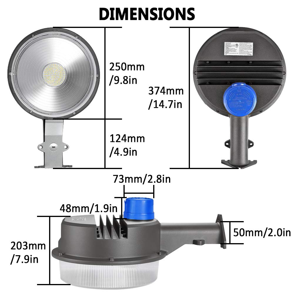 70W LED Barn Lights LEDMO - with Monuting Arm 9100lm Dusk to Dawn LED Outdoor Security Flood Lights with Photocell Area Lighting 5000K Daylight LED Yard Lights Brightest Waterproof by LEDMO (Image #7)