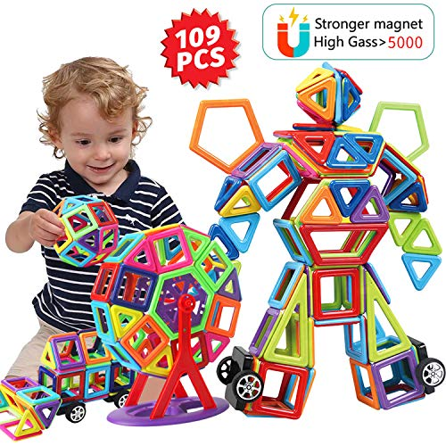(HOMOFY 109 PCS Magnetic Blocks Toys for Kids Toddlers,Strong Magnetic Tiles Building Stacking Blocks Set -STEM Toys 3D Rainbow Educational Construction Toys for 3+ Years Old Boys Girls -Children)