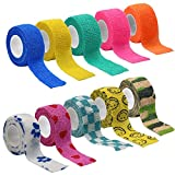 M-Aimee 10 Pack Wrap Tape Sports Tape Self-Adherent Tape Pressure Wrap Bandage Rolls for Wrist Ankle (12 Colors, 1 Inch x 5 Yards)