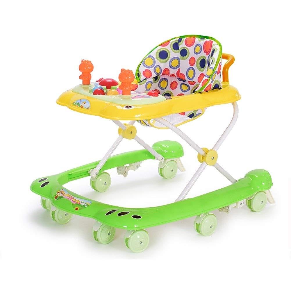 Song ベビーウォーカーガール多機能アンチオーレッグロールオーバー防止男性の赤ちゃん幼児スターターは座ることができます (Color : 緑) 緑