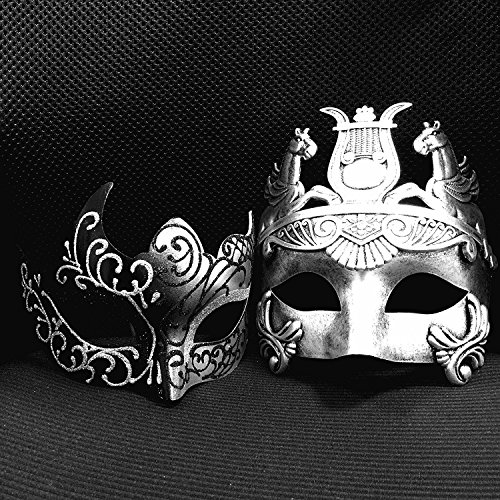 Mens Masks For Masquerade Ball (Silver / Black Glitter Women Mask & Silver Roman Warrior Men Mask Venetian Couple Masks For Masquerade / Party / Ball Prom / Mardi Gras / Wedding / Wall Decoration)