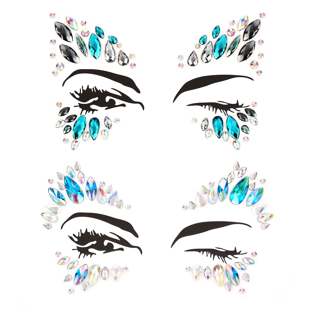 Bling 6 Sets Self-adhesive Mermaid Face Gems Stickers, Rave Festival Face Jewels Crystal Rhinestone Temporary Tattoo Stickers DIY Crafts Gem for Body, Makeup, Festival, Carnival by Bling (Image #4)