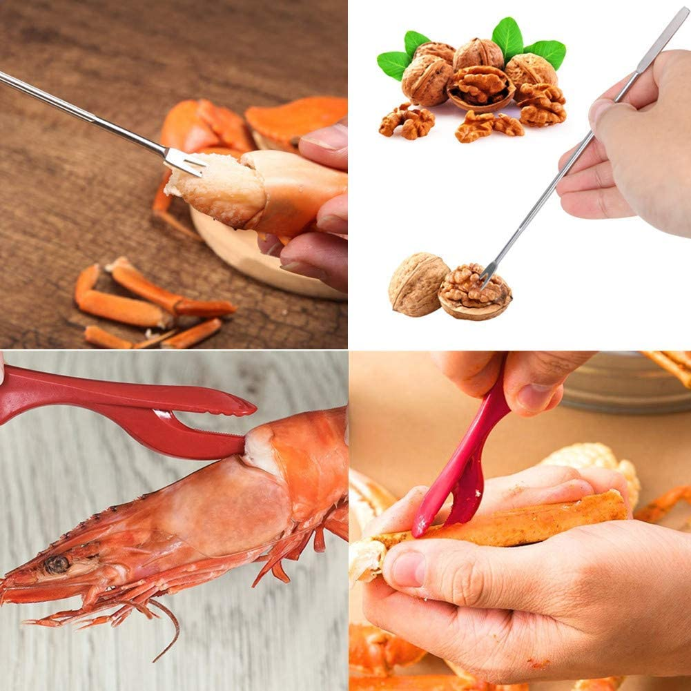 HOTEU Seafood Tool Set w//Forks and Lobster Crackers 12Pcs Stainless Steel Crab Lobster Cracker Nut Tools