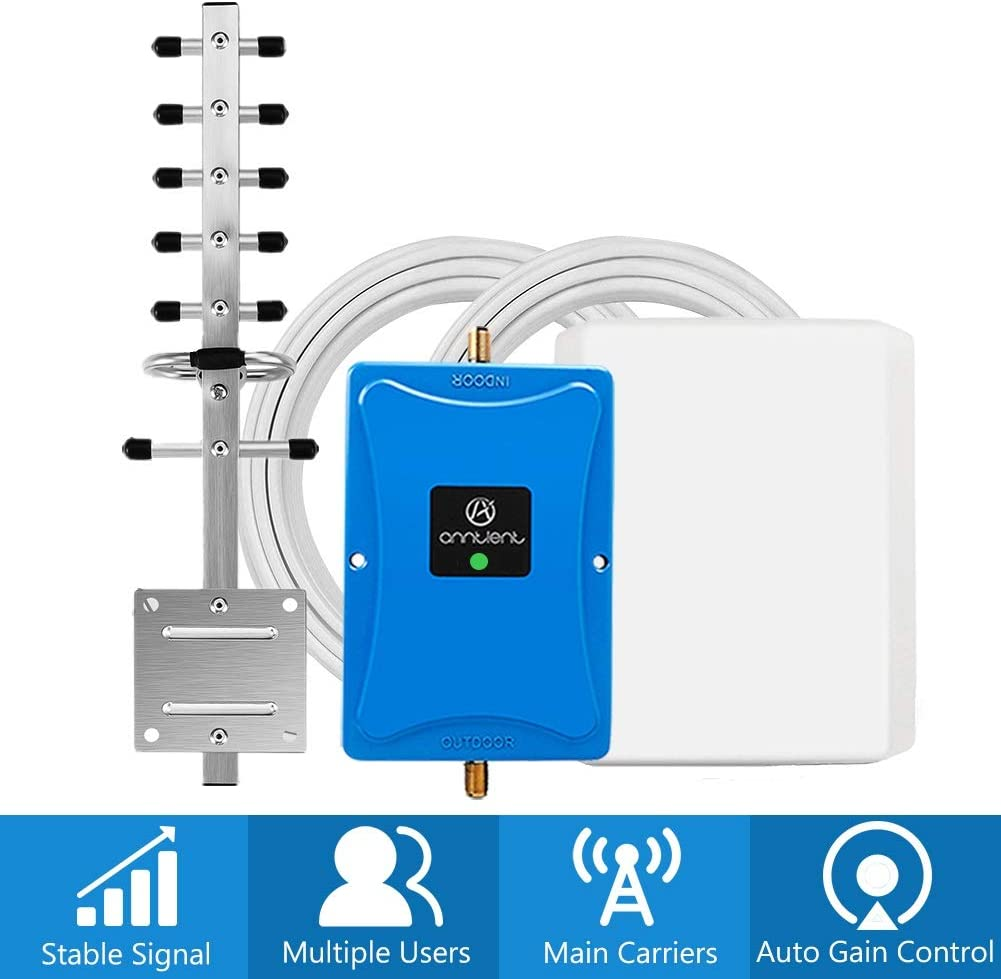 Cell Phone Signal Booster for Home and Office - Band 66 Band 4 Cell Phone Signal Repeater Amplifier for Verizon AT&T 4G LTE - High Gain Panel/Yagi Antennas Extend Coverage Up to 4,500Sq Ft