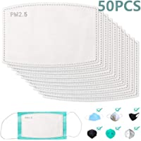 50pcs PM2.5 Mask Filter Replacement,5 Layers Activated Carbon Filter Anti Pollution Mouse Mask Filter for Men Women Kids Teens (50pcs)