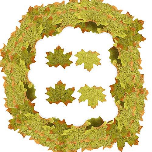SunAngel Artificial Maple Leaves, Autumn Fall Leaves Bulk Assorted Mixed Garland Wedding House Decorations (144pcs, ()