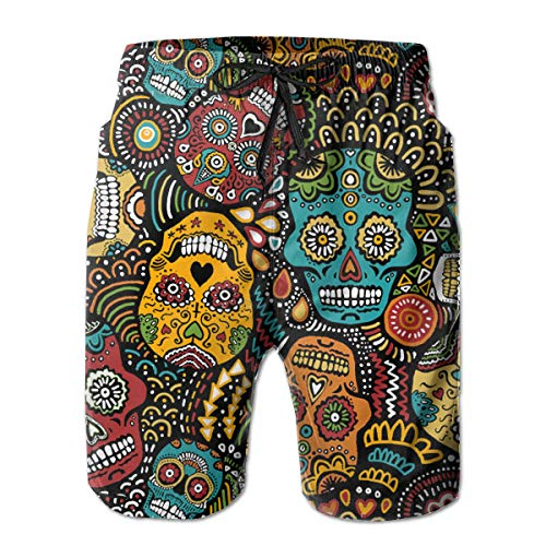 FANTASY SPACE Men Relaxed Swim Trunks for Beach Gym Workout Full Elastic Waist Quick Dry Full Elastic Drawstring Half Pants Summer Underwear - Mexican Sugar Skulls -