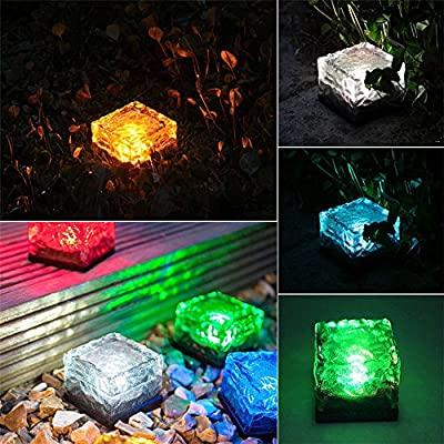 2PCS Charming Solar Path Ice Cube Lights Waterproof Color Changing LED Frosted Glass Brick Rock Lamp In-ground Buried Lights for Path Yard Garden
