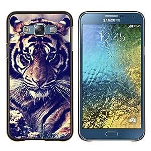 LECELL--Funda protectora / Cubierta / Piel For Samsung Galaxy E7 E700 -- Filtro viñeta tigre rugido pieles gato grande --