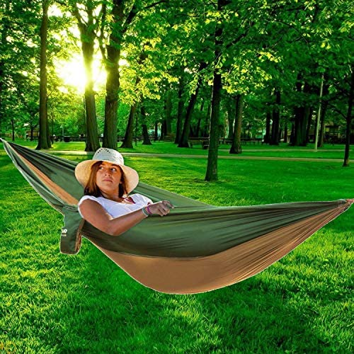 PIRNY Double Camping Hammock,Portable Parachute Hammock Suitable for Outdoor Beach Yard,Perfect Backpacking Gear