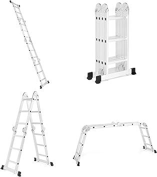 VonHaus - Escalera de aluminio multiusos (3,5 m, estándar EN131, función de andamio, patas antideslizantes y barra estabilizadora): Amazon.es: Bricolaje y herramientas