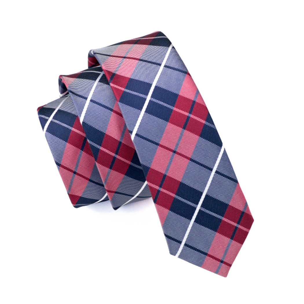 CAOFENVOO Mens Summer Colorful Skinny Silk Tie (Red Plaids)