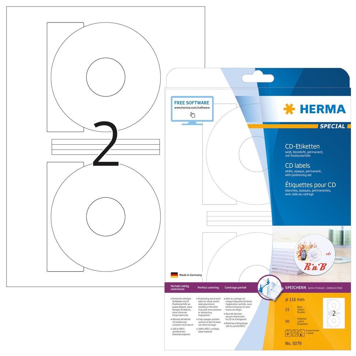 Herma 5079 CD DVD Etiketten blickdicht (Ø 116 mm, Innenloch groß) weiß, 50 Stück, 25 Blatt A4 Papier, Zentrierhilfe, bedruckbar, selbstklebend