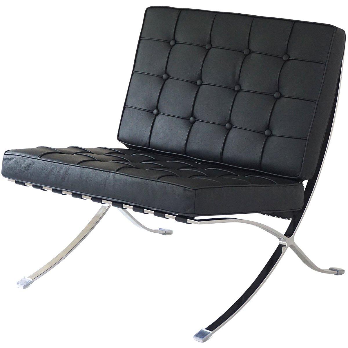 バルセロナチェア ミースファンデルローエ 総本革イタリアンレザー仕様 ブラック 黒 BARCELONA Chair 北欧家具 デザイナーズ リプロダクト B01MUCQS0I