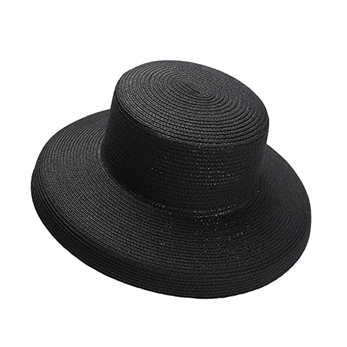 1950s Women's Hat Styles & History JXLBB Black High Cold Retro Lampshade Straw Hat Female Big Hat Foldable Beach Sunhat $42.93 AT vintagedancer.com