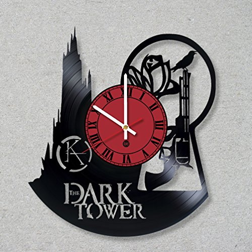 Vinyl Record Wall Clock The Dark Tower Stephen King the Man in Black Gunslingers decor gift ideas for friends him her boys girls World Art Design
