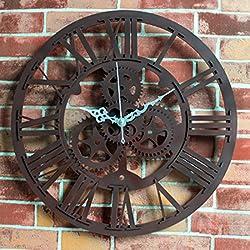 Petforu 12-Inch Acrylic Vintage Gear Wall Clock Home Garden Decor - ROMAN NUMERALS RUST RED