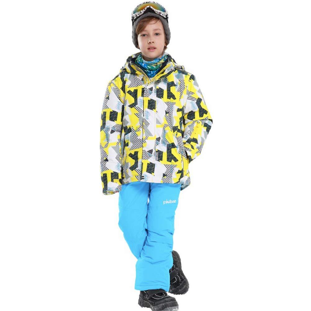 Jaune   Bleu 8 ans   122 128 LSERVER Enfant Filles Garçons Ensemble 2 Piéces Veste de Ski Pantalon Neige veste Snowproof Parka