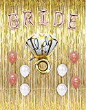 How to Make a Shower Curtain Bachelorette Party Decorations & Bridal Shower Kit with gold foil curtain backdrop fringe and rose gold BRIDE mylar balloons and latex balloons