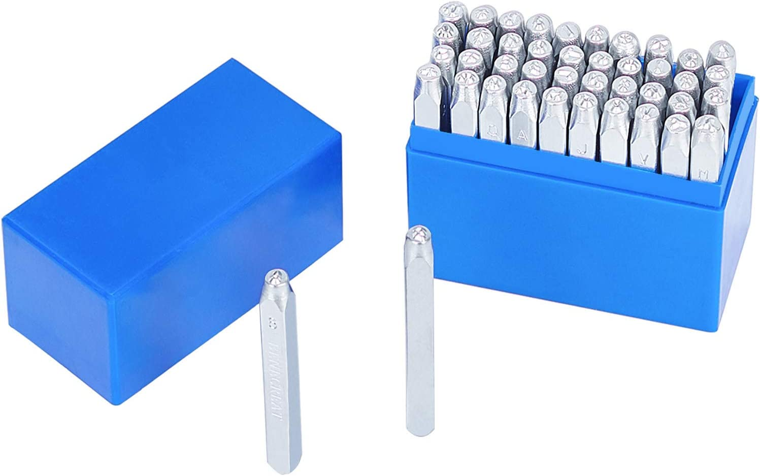 PandaHall 42pcs Letra y número Conjunto de Sellos de Metal Alfabeto de la A a la Z y Número Sellos de la Caja Superior de Hierro Herramienta de punzonadora para Imprimir en Metal