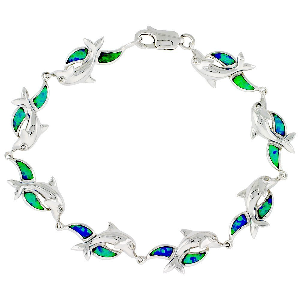 Sterling Silver Dolphin Bracelet Synthetic Opal Inlay 7 1/4 inch long 3/8 inch (10 mm) Wide