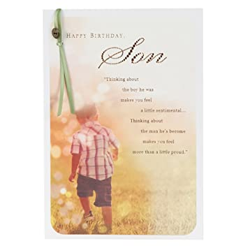 Hallmark Medium Son Traditional Attached Button And Ribbon Paper Insert Birthday Card