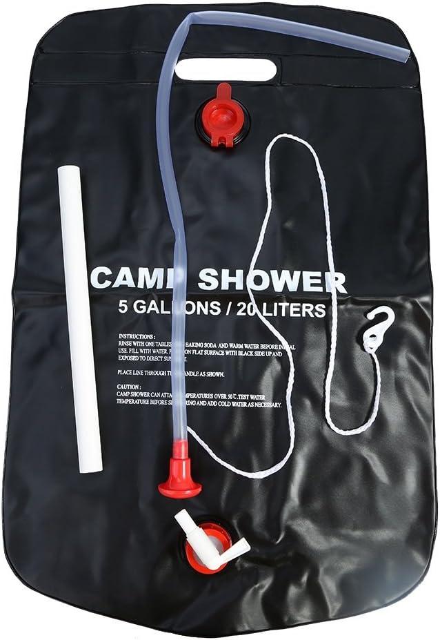 20L Bolsa de ducha solar Energ/ía climatizada Campamento ba/ño de agua de PVC para al aire libre Camping viaje