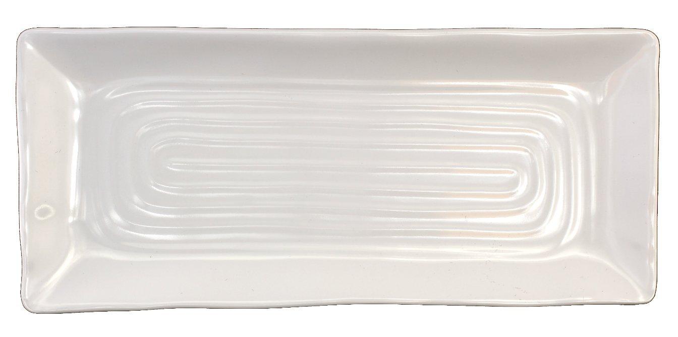 Lucky Star Melamine Rectangular Dinner Serving Plate, White, 12-pcs per case (1 dozen) (10-1/2'' L X 4-1/2'' W)