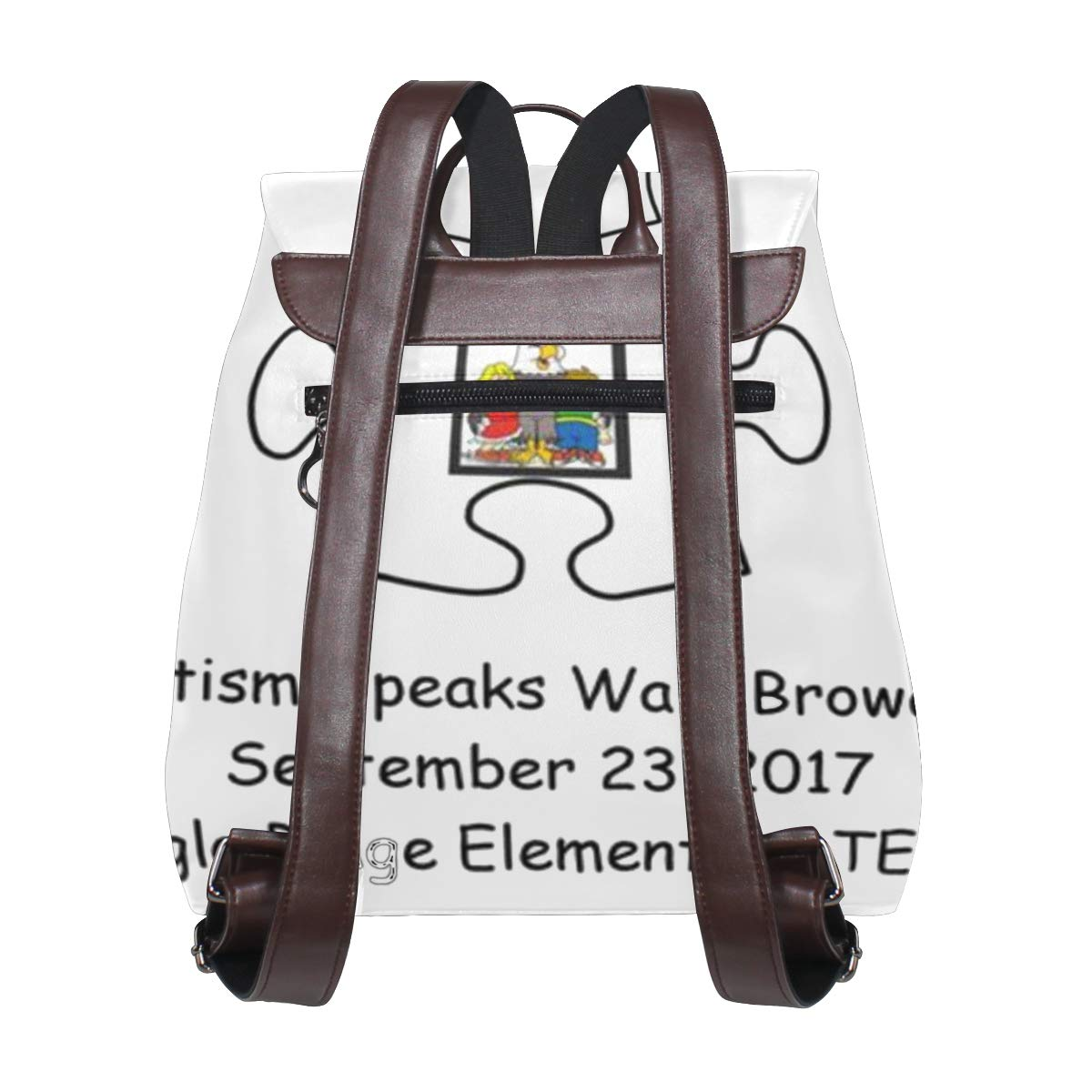 Leather fashion Autism Speaks Walk Broward backpack For Work//Travel//Leisure//school bag