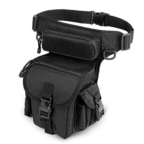 ELEPOWSTAR Bolso de Pierna al Aire Libre, Bolsa de Cintura Militar Iimpermeable con Función Múltiple para Moto, Cámping,Senderismo, Deporte para ...