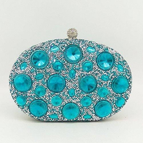 MYJ Bolso de Señora Señora Diamante Bolsa de Embrague Color Rhinestone Bolsa de Cena de Diamantes Caliente Mini Mano Bolso del Banquete,Azul azul