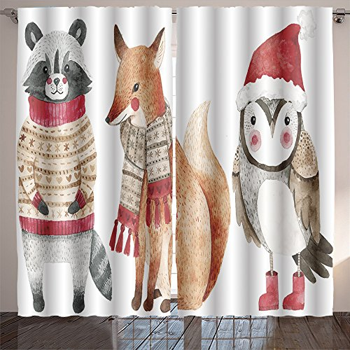 Analisahome christmas watercolor animals set fox raccoon and bird like owl cute kids illustration perfect Bedroom/Living Room/2 Panels by Analisahome