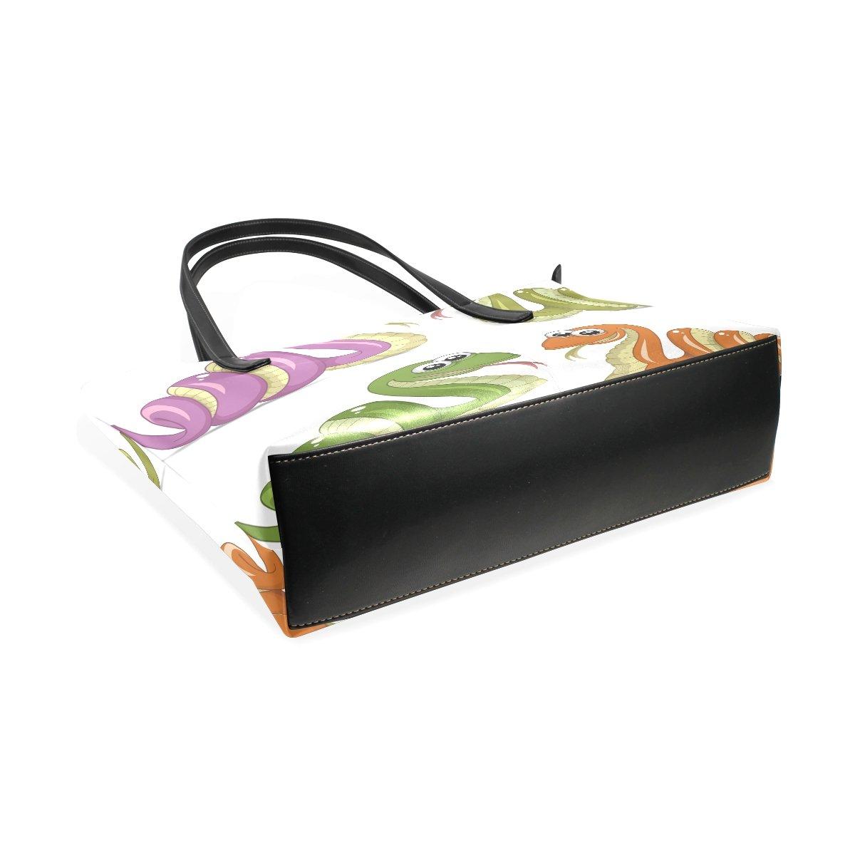 Womens Leather Top Handle Shoulder Handbag Four Color Snakes Large Work Tote Bag