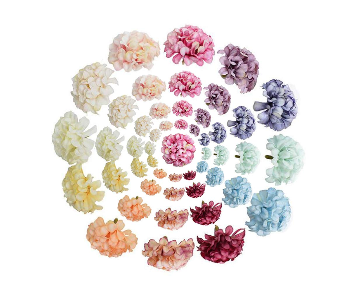 SYBL 50 Packs Artificial Flowers Mini Fake Silk Hydrangea Heads Without Stem Bulk Decor Accessories for Wedding Party Home Decoration DIY Bouquets Art Craft Supplies