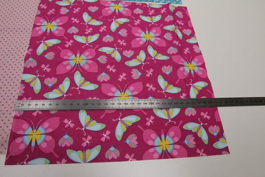 DIY N/ähset einfache Patchwork Babydecke 90cmx90cm Decke inkl Pinidi Anleitung///Ökotex 100 Schmetterling pink rosa t/ürkis//Steppstoff dunkelblau