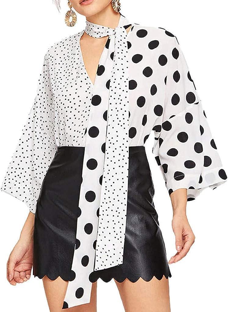 TOPKEAL Blusa de Verano Mujer de Moda 2019 Camisa Desigual con Correa con Cuello en V de Lunares Top Informal: Amazon.es: Ropa y accesorios