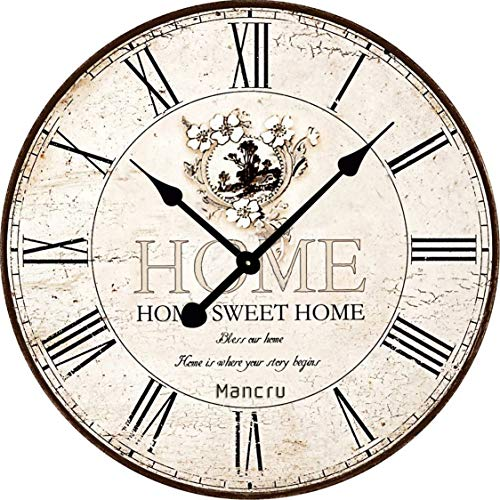 Mancru 0.4 Inch Thickness Vintage Not Cover Silence Wall Clock Shabby Wooden Large Round Non-Ticking Quiet Quartz Wall Clock Decoration Wall Art Clock 12-24inch (Clocks Wall Art)