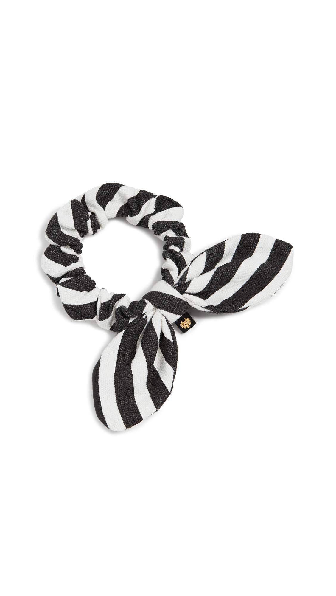 Lele Sadoughi Women's Striped Scrunchie, Black/White, One Size
