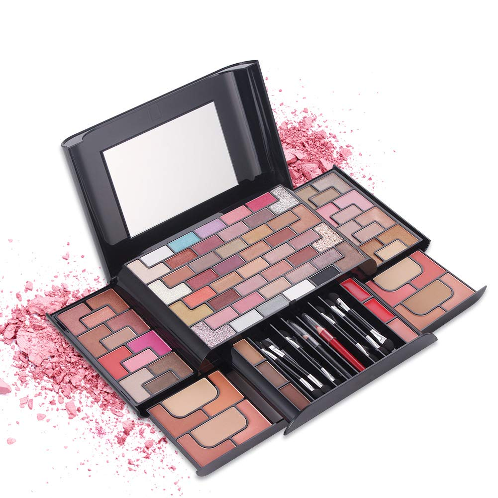 PhantomSky Professional Eyeshadow Palette All in one Cosmetic Makeup Gift Set including 68 Matte Shimmer Highly Pigmented Eye Shadows, 8 Blush, 4 Compact Powder, 3 Lipgloss and 3 Eyebrow Powder