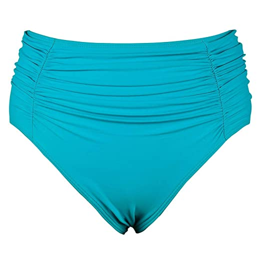1a30ae39c7f Mycoco Women s High Waist Swim Botttom Shirred Tankini Bottom Ruched Bikini  Brief Lake Green 22