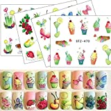 POYING 1pcs Nail Sticker Water Tattoos Summer Ice Cream/Drink/Fruit/Flower/Butterfly DIY Decals for Nail Art Cool Decor STZ470-488