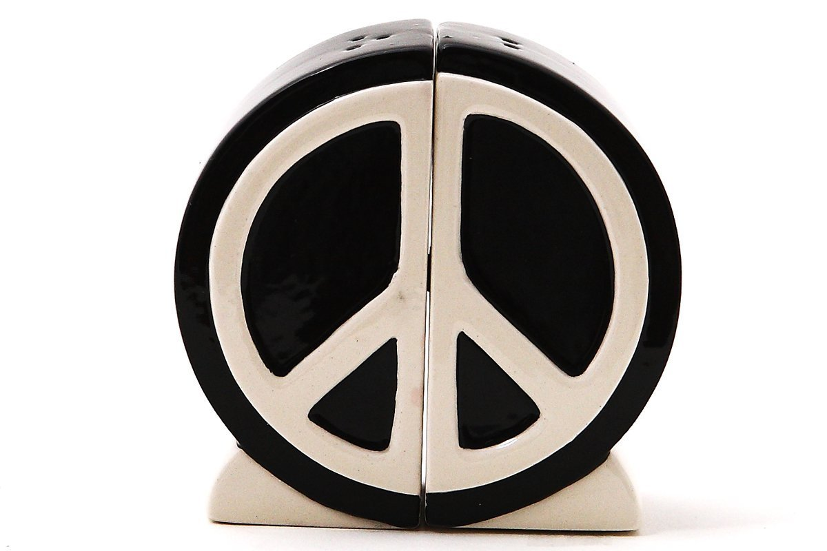 1 X Peace Sign Salt and Pepper Shaker Set 1960s Icon Home Seasoning Device Pacific 8995