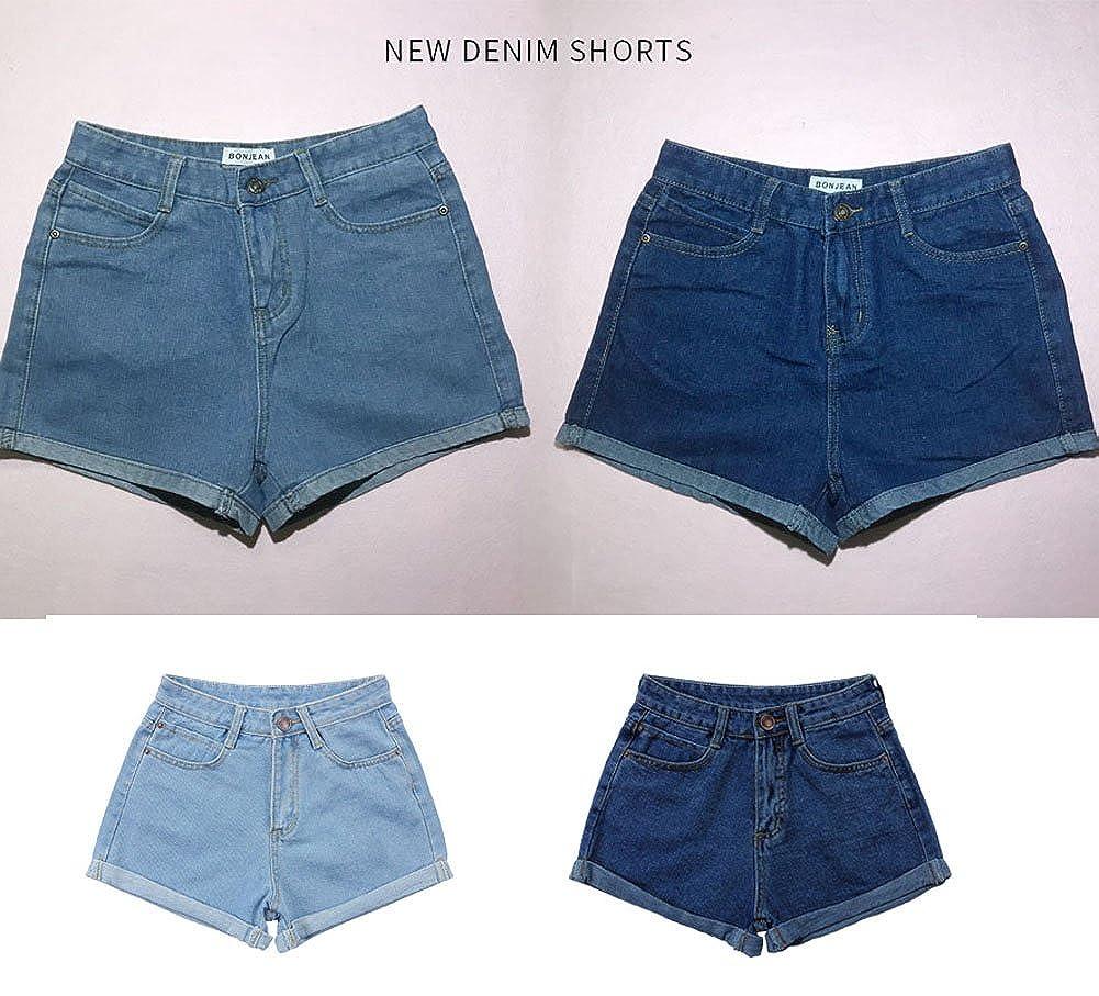 Minetom Sommer Damen Denim Shorts High Waist Hot Pants Lochjeans Vintage Baggy Basic Kurz Jeans Hose Kurzschl/üsse mit Taschen