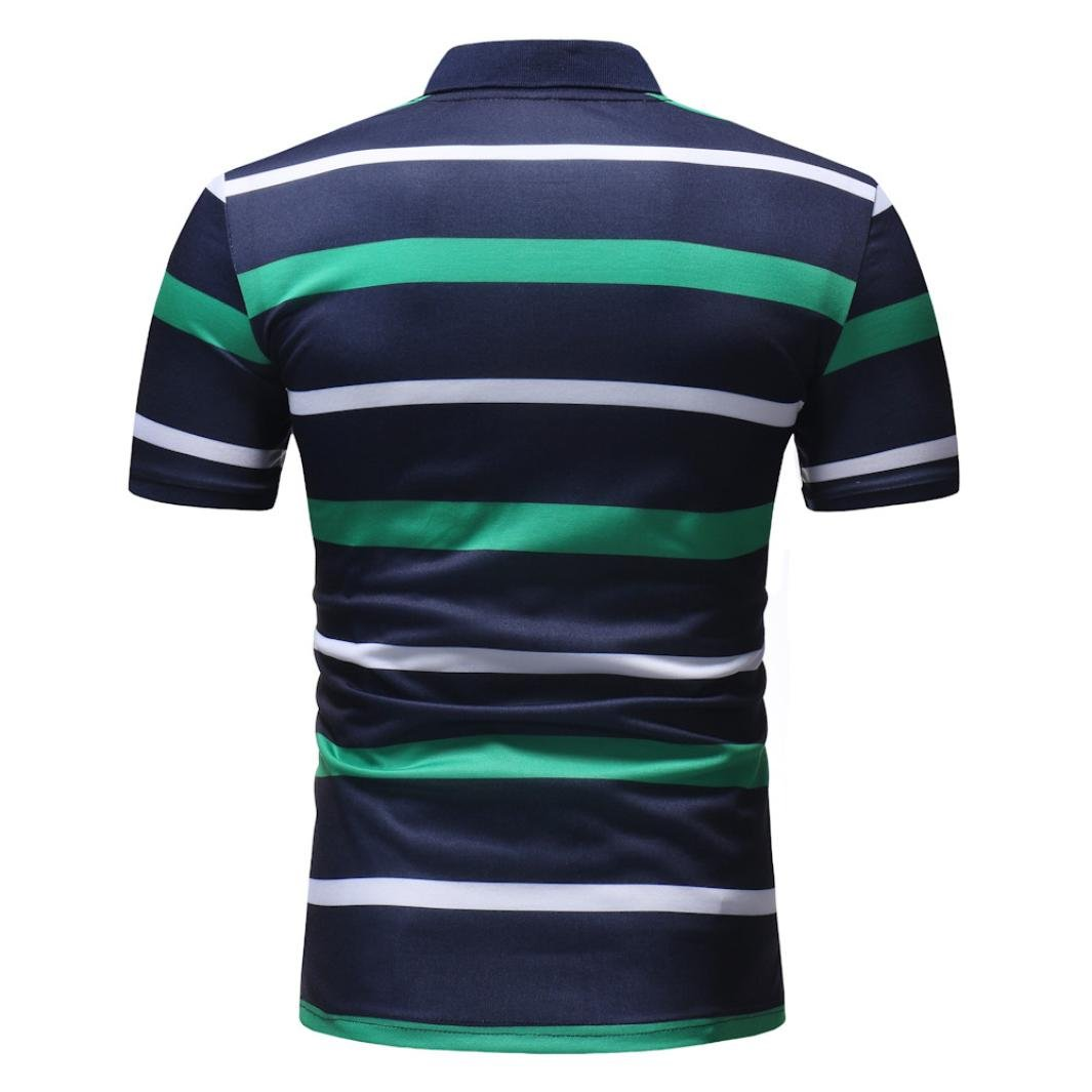 vermers Mens Fashion Polo Shirts Summer Casual Buttons Striped Short Sleeve T Shirt(M, Green) by vermers (Image #5)