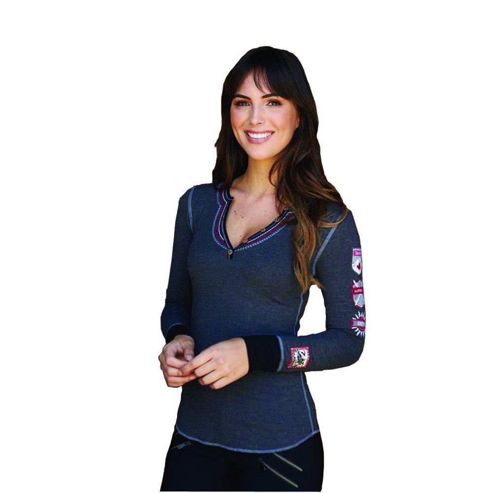 Alp-n-Rock Women's Gondola Canada Henley Shirt (Heather Black,M) by Alp-n-Rock (Image #2)